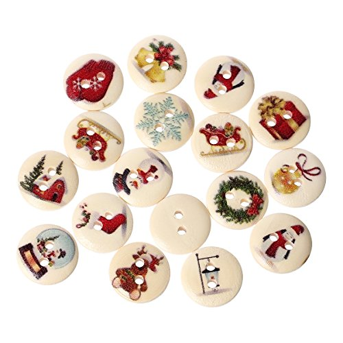 (PEPPERLONELY Brand 100PC Christmas 2 Hole Painted Scrapbooking Sewing Wood Buttons 15mm( 5/8 Inch))