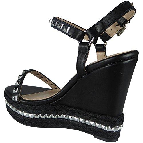 3 Sandals 8 Wedge Black Ladies Strap Studded Look Platform Loud Size Ankle Espadrilles ABxSUqgw