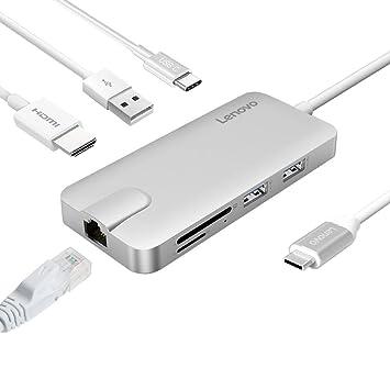 Lenovo Hub USB C, Type C Adaptador con Puerto HDMI, Gigabit Ethernet, conexión USB C ladeanschluss, 2 USB 3.0 y 1 Puertos USB 2.0, Lector de Tarjetas ...