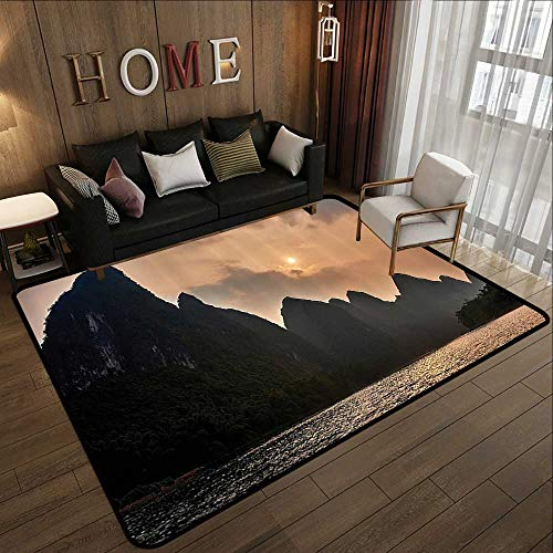 China Polyester Rug - Rugs for Kitchen Floor,Lake House Decor Collection,Li River Between Guilin and Yangshuo in Guangxi Province China Summer Panorama Image,Peach G 71