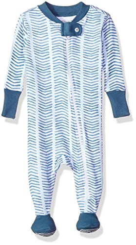Burt's Bees Baby Baby Boys' Soft Organic GOTS Certified All Over Print Zip Front Non-Slip Footed Sleeper Pajamas, Blue Star Watercolor Chevron, 24 Months