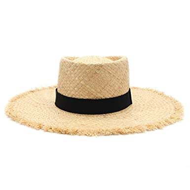 e618124c Image Unavailable. Image not available for. Color: Black Ribbon Raffia  Straw Summer Sun Visor Hats for Women Lady Foldable Fashion Handmade Cap  Wide