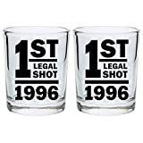 21st Birthday Shot Glass 1st Legal Shot Funny 21st Gift Shot Glasses 2-Pack Round Shot Glass Set Black