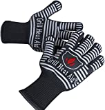 Extreme Heat Resistant Grill Gloves | Premium Insulated & Silicone Lined Aramid Fiber Mitts for Cooking, BBQ, Grilling, Frying & Baking - Professional Indoor Outdoor Kitchen & Oven Accessories