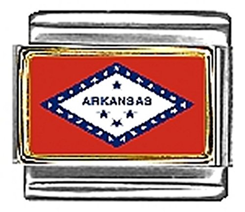 - State of Arkansas Photo Flag Italian Charm Bracelet Jewelry Link