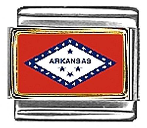 Arkansas Italian Charm - State of Arkansas Photo Flag Italian Charm Bracelet Jewelry Link
