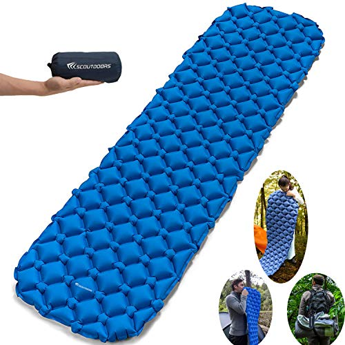 SCOUTDOORS Camping Sleeping Pad - Inflatable Compact & Waterproof Lightweight Sleeping Bag for Backpacking - Hiking & Hammock - Sleep Comfortably in The Outdoors - Perfect Size Mattress