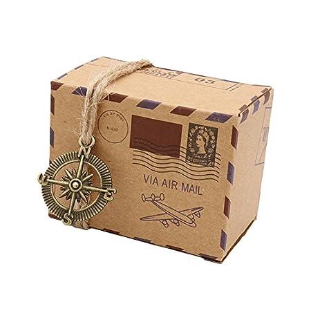 Cajas de papel, Floratek, 50 unidades, de papel de estraza, para regalos de boda, caramelos, fiestas, estilo vintage marrón: Amazon.es: Hogar