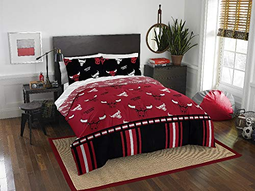 HNU NBA Chicago Bulls Queen Comforter Set,Red Black Bedding Set,Animal Print Cool Looking Boys Sports Fan Frenzy Raging Bull All Over Printed Fancy Basketball Illinois Reversible Machine Washable