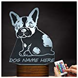 Novelty Lamp, Optical Illusion 3D LED Lamp Night Light French Bulldog, USB Powered Remote Control Changes The Color of The Light, Bedroom Table Lamp, Children's Gift, Home Decoration,Ambient Light