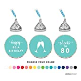 Andaz Press Chocolate Drop Labels Trio, Fits Hershey's Kisses Party Favors, 80th Birthday, 216-Pack, Choose Your Color - Party Decor and Decorations, Stickers for Stationary, Envelopes, Invitations, Thank You Notes