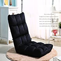 Selani™ Adjustable Floor Chair Folding Couch Sofa Six-position Multiangle Lazy Man Chair Soft Cushion Foldable Tatami Foldable Recliner Lounge Chair Home Essential Sofa (Black)