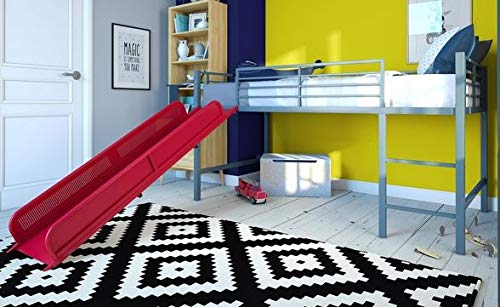 Loft Bed With Stairs-Toddler Loft Bed- Red Metal Twin with Slide - Give Your Child