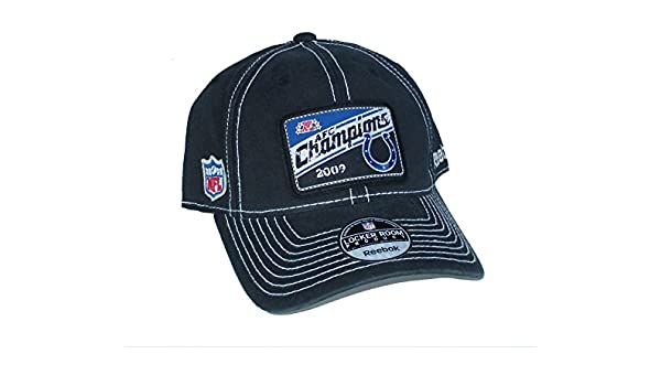 2172b306695 Amazon.com   Indianapolis Colts 2009 AFC Champions Patch Distressed Navy  Blue OSFA Hat Cap - Best Fits 7 Through 7 5 8   Sports   Outdoors