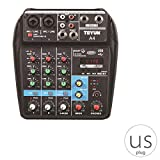 OmkuwlQ 4 Channels Audio Mixer Sound Mixing Console Bluetooth Record Stage Meeting Live Broadcast Suppplies US Plug