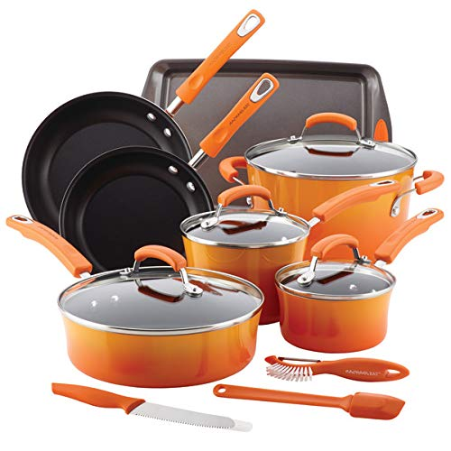 Rachael Ray Classic Brights Hard Enamel Nonstick 14Piece Cookware Set Orange Gradient
