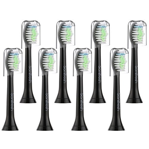 Sonifresh DiamondClean Replacement Brush Heads, Black Sonic Care Toothbrush Heads Compatible with Phillips Sonicare Diamondclean, 2 Series Plaque Control,Gum Health, HealthyWhite, EasyClean, 8 Pack