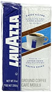 Lavazza Gran Filtro Dark Roast - Ground Coffee, 8-Ounce Bags (Pack of 5)
