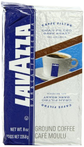 Lavazza Gran Filtro Dark Roast - Ground Coffee, 8-Ounce Bags (Pack of 5) (Lavazza Gran Filtro Ground Coffee)