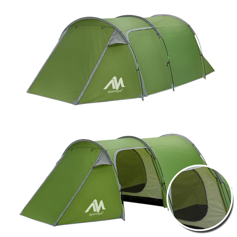 AYAMAYA Camping Tents 3-4 Person Hiking Shelter/Man/People with Easy 2/Two Room [Bedroom + Living Room], Waterproof Double Layer [3 Doors] [4 Season] Easy Setup Large Family Tunnel Tent Shelter for Hiking Travelling [並行輸入品] B07R3Y6366, スポークネット店:54655ca0 --- anime-portal.club