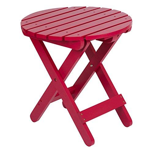 Shine Company Adirondack Round Folding Table, Tomato Red