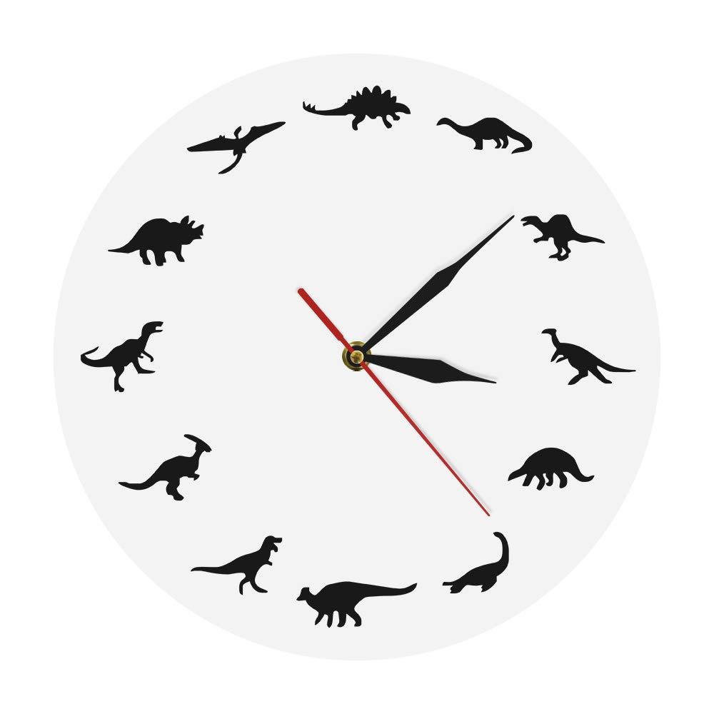 The Geeky Days Dinosaurs Silhouette Wall Clock Creative Animal Nursery Wall Art Decor Kid Room Personalised Dinosaur Clock Modern Silent Quartz Iconic Acrylic Clock Dinosaur Lover Gift GIT-01015