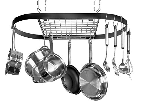- Kinetic Pot and Pan Rack with Ceiling Hooks - Premium Oval Mounted Oragnizer Rack with Multi Purpose Kitchen Organization and Storage for Home, Restaurant, Cookware, Utensils (Hanging Black)