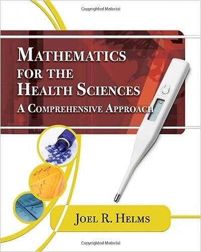 Mathematics for Health Sciences: A Comprehensive Approach (Math ...