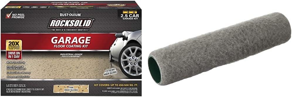 Rust-Oleum 293515 Rocksolid Polycuramine Garage Floor Coating, 2.5 Car Kit, Tan & Wooster Brush R232-9 Epoxy Glide Roller Cover, 1/4-Inch Nap, 9-Inch