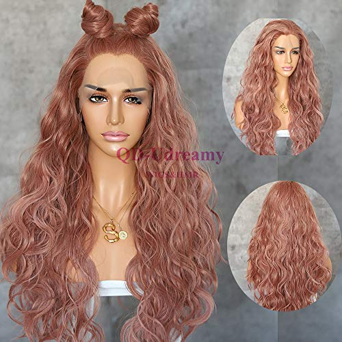 QD-Udreamy Reddish brown Color Natural Wavy Synthetic Lace Front Wigs Heat Resistant Hair Wigs for Women Party Makeup Hair ...