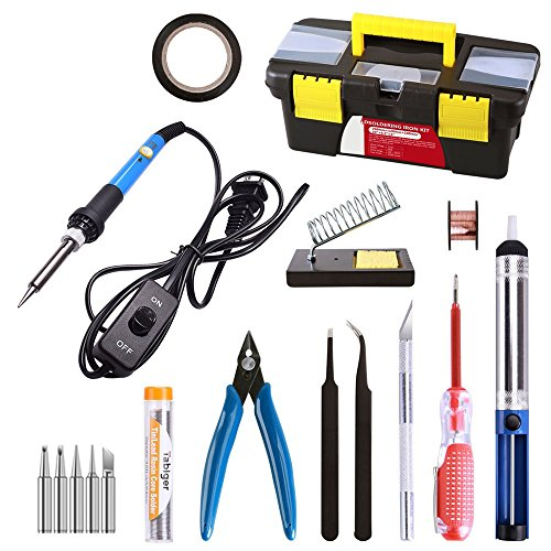 15-in-1 Soldering Iron Kit,Rbaysale 60w 110v Adjustable Temperature Welding Tool With ON/OFF Switch,5pcs Soldering Iron Tips,Desoldering Pump,Tweezers,Soldering Iron Stand,Solder Wire,Screwdrivers