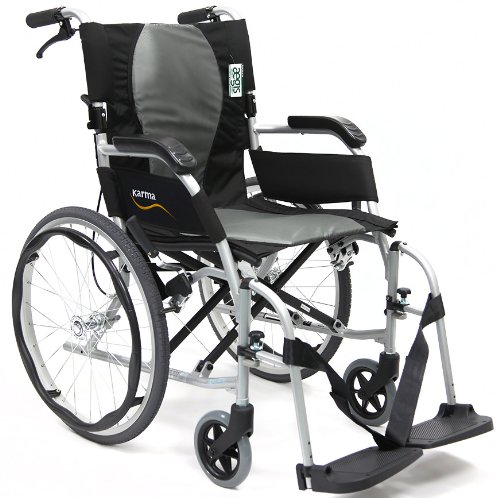 Karman Ergonomic Wheelchair Ergo Flight with Quick Release Axles in 16 inch Seat, Pearl Silver Frame