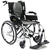 Karman Healthcare Ergonomic Wheelchair Ergo Flight with Quick Release Axles in 16-Inch Seat, Pearl Silver Frame