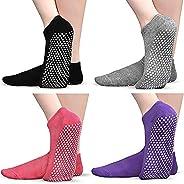 Non Slip Socks for Yoga Pilates Barre, Tphon Grippers Sticky Anti Skid Socks for Women, 4/6/8 Pairs