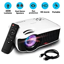 Projector/Projecteur,2017 Newest Version GooBang Doo ABOX T22 2400 Lumens Mini Portable Projector,Multimedia 1080p HD Home Video Projector Support HDMI USB SD Card VGA AV Input for PC Laptop/PS4/Xbox/Android Box etc