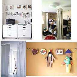 Curtain Drape Wire Rod Set with 24 Clips Multi-purpose Set Hang Photos, Notes, Art