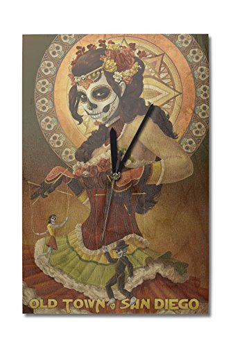 Lantern Press Old Town, San Diego, California - Day of The Dead (10x15 Wood Wall Clock, Decor Ready to Hang) - Graphic Image Clock