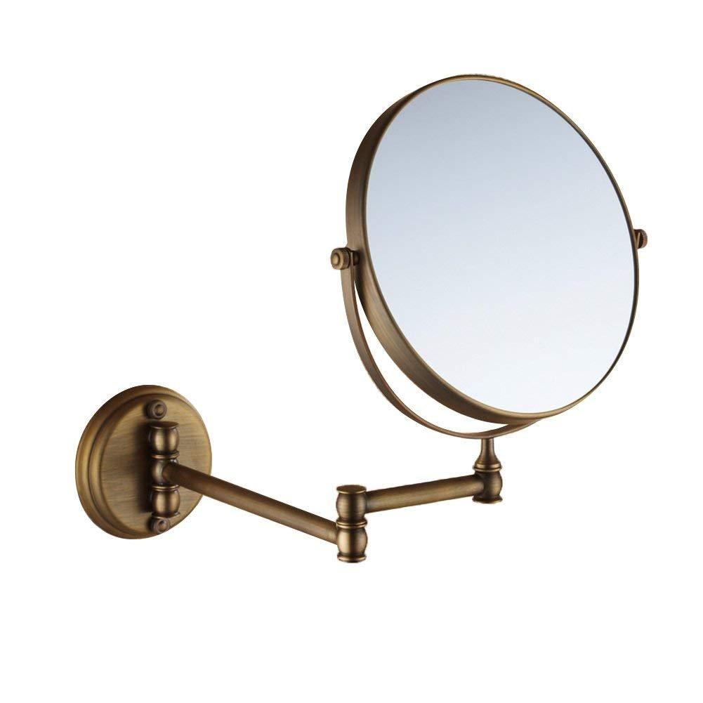 NAERFB Espejo de Maquillaje Extensible,antigüedades de Montaje en Pared de Baño, Espejo de tocador, Espejo Plegable WC Espejo telescópico de Dos Caras Espejo ampliada