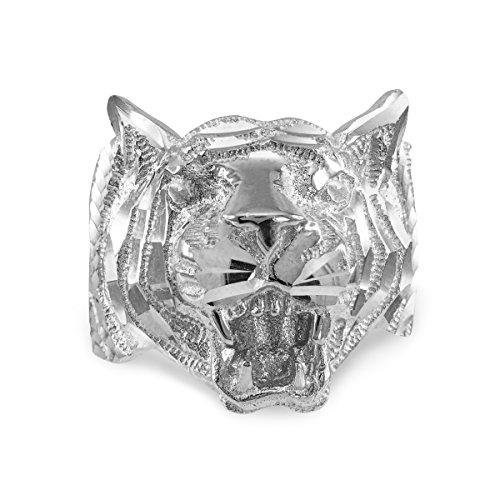 Men's 925 Sterling Silver High Polish Band Tiger Ring (Size 7.5) (Tigers High Polish)