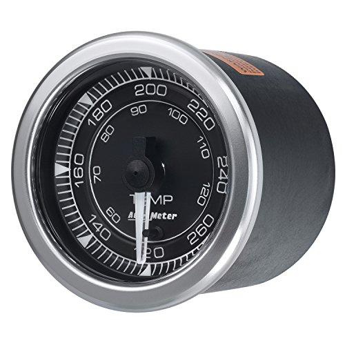 AutoMeter 8154 Chrono Water Temperature Gauge 2-1/16 in. Black Dial Face White LED Electric Digital Stepper Motor 120-280 Degree F Chrono Water Temperature (Chrono Dial)