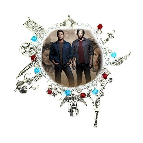 (SUPERNATURAL TV Series Silvertone Assorted Themed Metal Charm BRACELET)