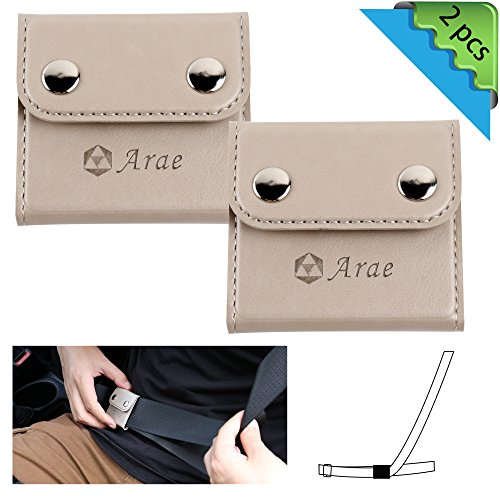 Seatbelt Adjuster, Arae Universal Automotive Belt Strap Comfort Protector Locking Clip Cover, Seat Belt Safety Positioner for Vehicle Car 2-Pack (Light Gray)