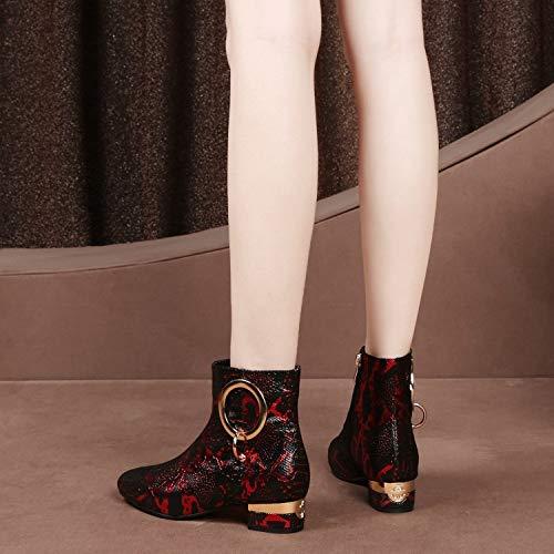 Piatta Boots A In Stivali Ladies Fibbia Pelle E Metallo Piatto Punta Argento Stampata Tacco Red Martin Con Womens qpaSq