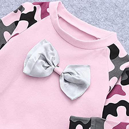 4cd7edf5c8a97 Webla 2PC Tenues Nouveau-née Bébé Filles À Manches Longues Camouflage  Grande Bowknot Pull Sweat T shirt Tops Pantalons Longues Vêtements ...