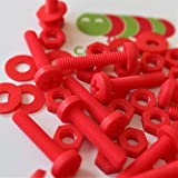 20 x Red Philips Pan Head Screws Polypropylene (PP) Plastic Nuts and Bolts, M4 x 20mm, Washers, Acrylic, Water Resistant, Anti-Corrosion, Chemical Resistant, Electrical Insulator, Strong.