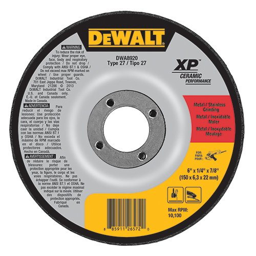 (DEWALT DWA8920 Extended Performance Ceramic Metal Grinding 6-Inch x 1/4-Inch x 7/8-Inch Ceramic Abrasive)