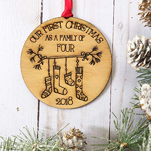 (First Christmas as a Family of Four 4 Ornament - Stocking Stuffer - New Baby Gift - Mother Father - Farmhouse Wood Rustic - Two Kids - New)