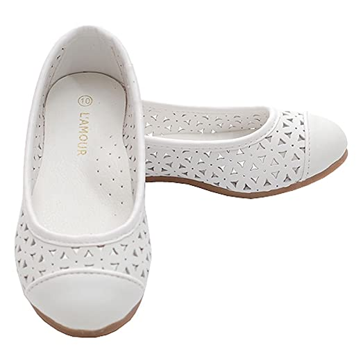 Amazon.com | White Slip On Punched Out Flat Dress Shoes Toddler ...