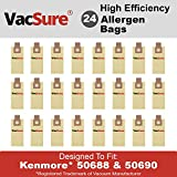 Kenmore Micro-Filtration Vacuum Bags TYPE O & U for Upright Vacs, Panasonic Type U-2 Vacuum Bags by VacSure (24 Bags included)