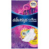 Always Radiant Regular Pads with Wings, Scented, 30 Count (Pack of 3)